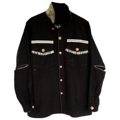 Embellished Silver Fringe Braid Jacket Black Gold Buttons J Dauphin
