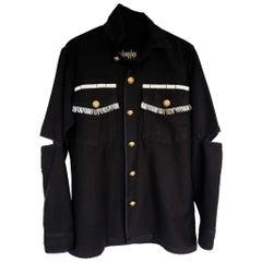 Embellished Silver Fringe Braid Jacket Blazer Black Gold Buttons J Dauphin