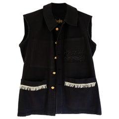 Embellished Silver Fringe Sleeveless Jacket Vest Black One of a kind J Dauphin