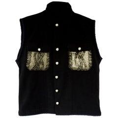 Embellished Sleeveless Jacket Vest Gold Coated Knit Black J Dauphin