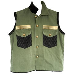 Embellished Sleeveless Jacket Vest Military Green Gold Buttons Tweed J Dauphin
