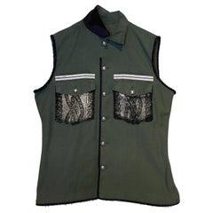 Embellished Sleeveless Jacket Vest Military Green Gold Knit Pockets J Dauphin