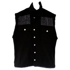 Embellished Sleeveless Jacket Vest Silver Button Military Black Tweed J Dauphin