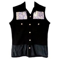 Embellished Sleeveless Vest Jacket Blazer Black Military Lilac Brocade J Dauphin