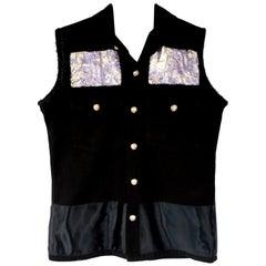 Embellished Sleeveless Vest Jacket Black Lilac Brocade J Dauphin