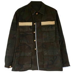 Embellished Camouflage aJacket Military Gold Button Green Blue Silk J Dauphin