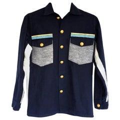 Embellished Dark Blue Jacket Military Grey Wool Gold ButtonsJ Dauphin