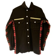 Embellished Wool Flannel Military Jacket Gold Braids Silver Button J Dauphin