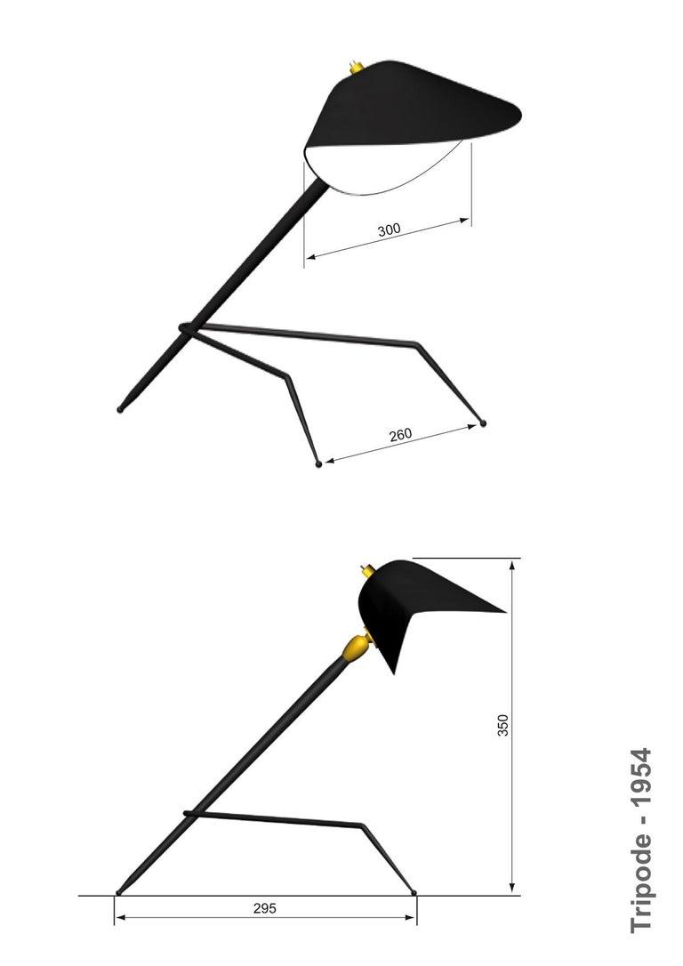 European Emblamatic Serge Mouille Tripod Desk Lamp Table Lamp For Sale