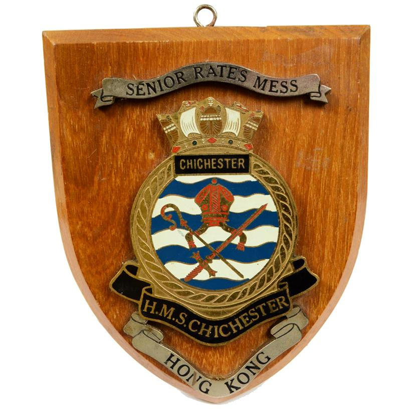 1970s Vintage Nautical Emblem Dedicated to the Ship MHS Chichester Hong Kong