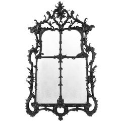 Embleme Mirror in Black Waxed Solid Mahogany Wood