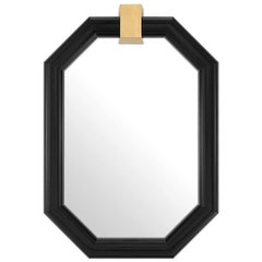 Embleme Mirror with Mahogany Wood and Brass
