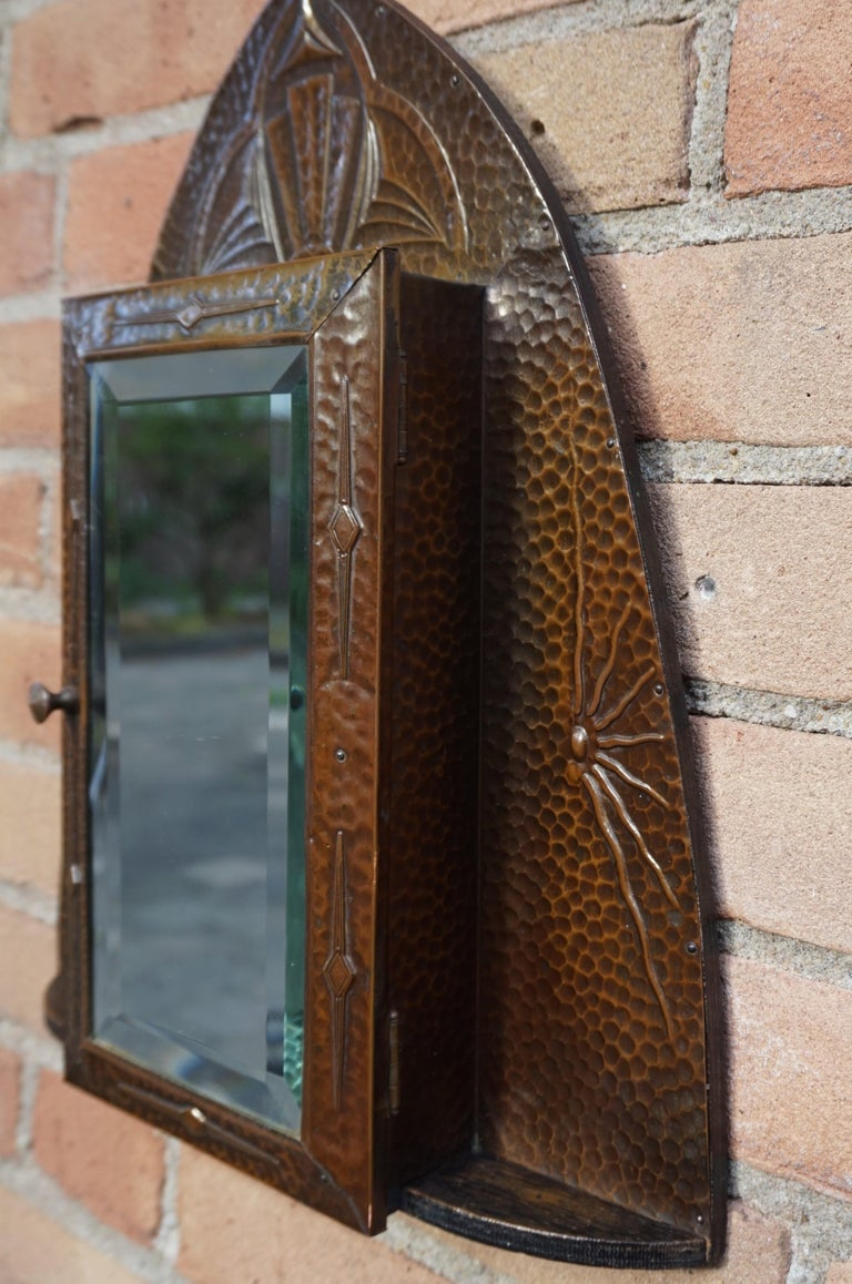 Embossed and Stunning Arts & Crafts Wall Key Cabinet with Beveled Mirror For Sale 4