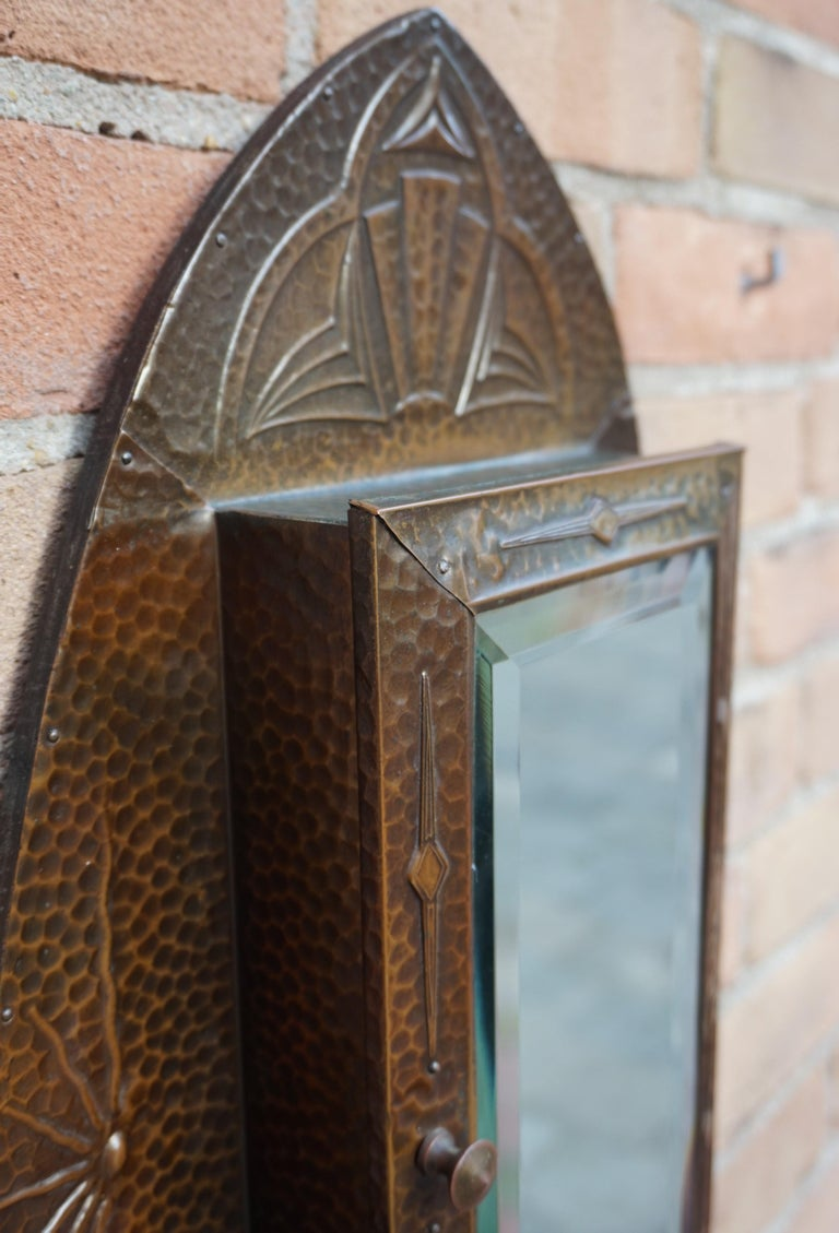 Embossed and Stunning Arts & Crafts Wall Key Cabinet with Beveled Mirror For Sale 8