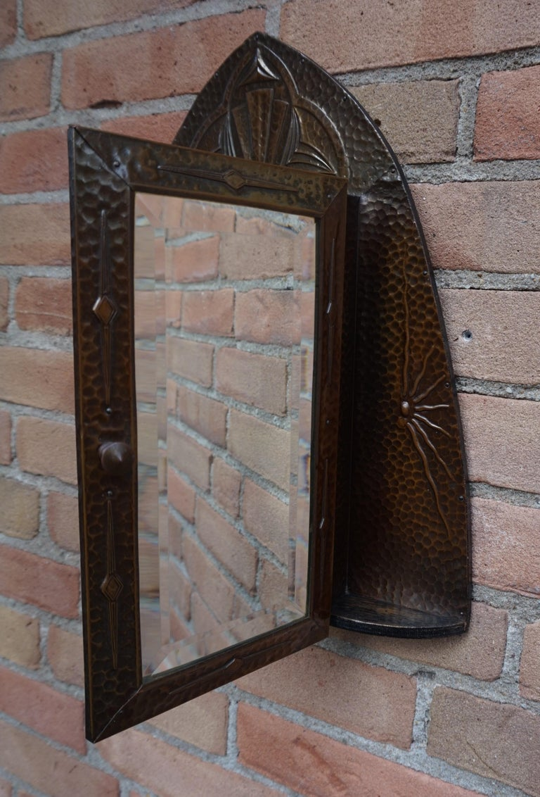 Embossed and Stunning Arts & Crafts Wall Key Cabinet with Beveled Mirror For Sale 9