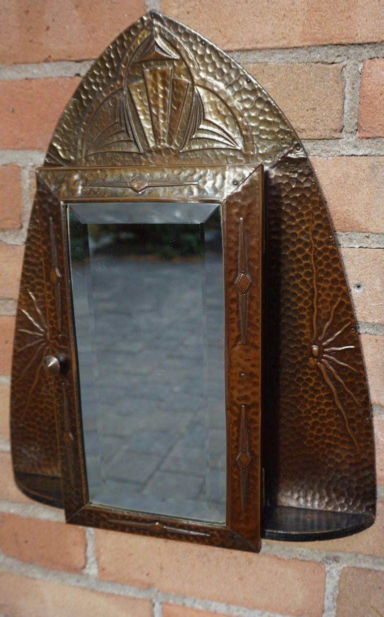 Embossed and Stunning Arts & Crafts Wall Key Cabinet with Beveled Mirror For Sale 12