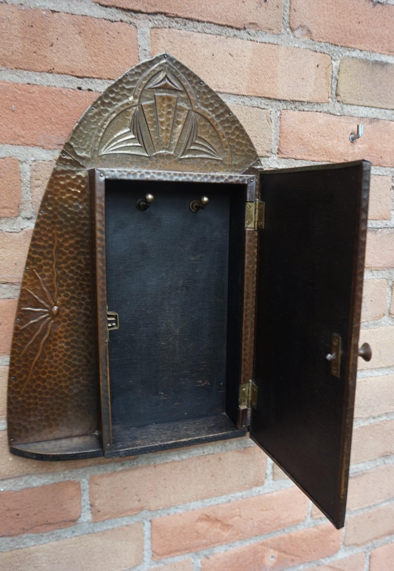 Dutch Embossed and Stunning Arts & Crafts Wall Key Cabinet with Beveled Mirror For Sale