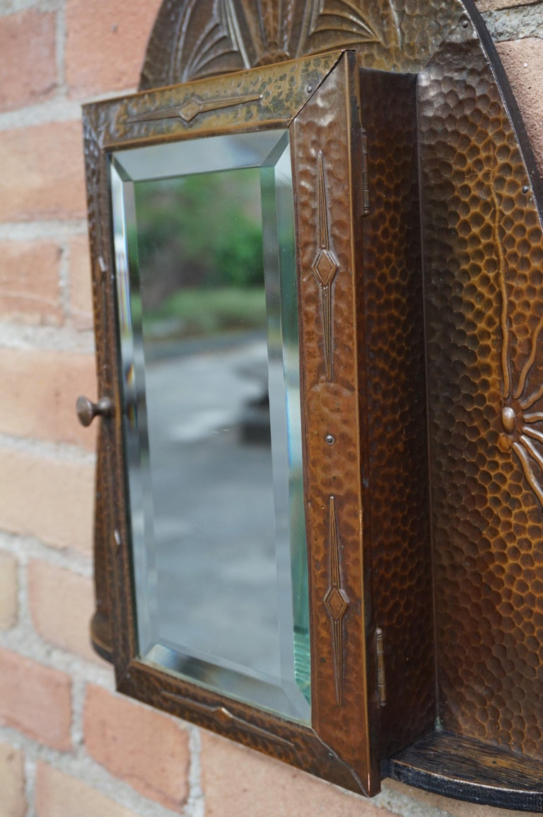 Embossed and Stunning Arts & Crafts Wall Key Cabinet with Beveled Mirror For Sale 2