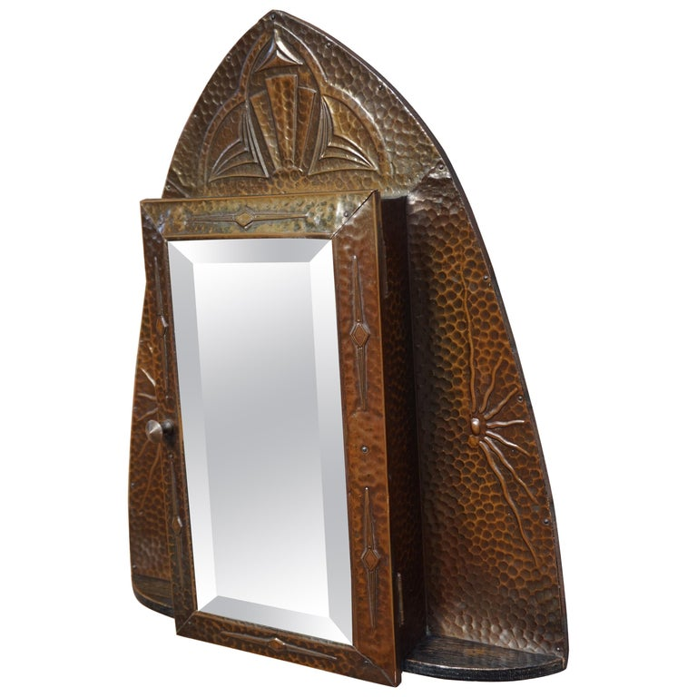 Embossed and Stunning Arts & Crafts Wall Key Cabinet with Beveled Mirror For Sale