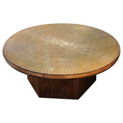 Embossed Brass and Walnut Round Coffee Table Artist Signed, G. Urso, Italy