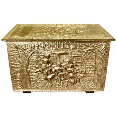 Embossed Brass Log or Coal Box, or Slipper Box with Tavern Scenes