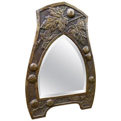 Embossed Brass Sycamore Leaf and Bolster Chestnuts Arts and Crafts Wall Mirror
