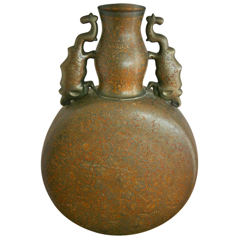 Embossed Brass Urn with Elephant Handles For Sale