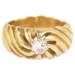 Embossed Diamond 18 Carat Yellow Gold Ring