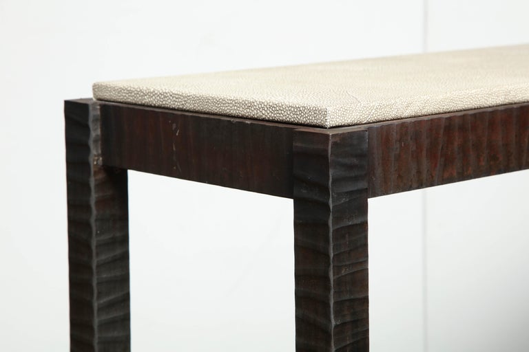 Embossed Edelman Leather Shagreen Console For Sale 5