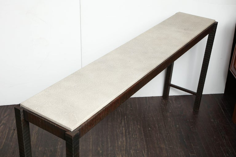 Embossed Edelman Leather Shagreen Console For Sale 6