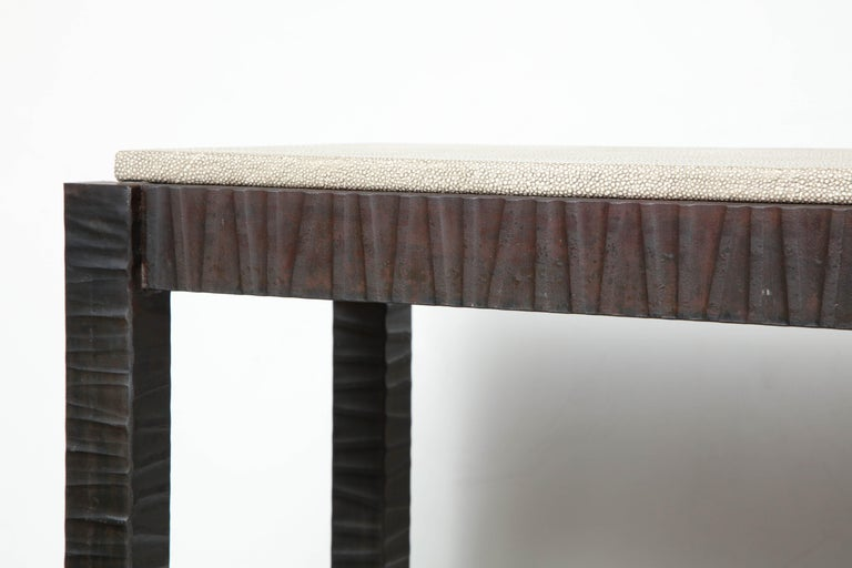 American Embossed Edelman Leather Shagreen Console For Sale