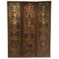 Embossed Leather Three-Panel Screen