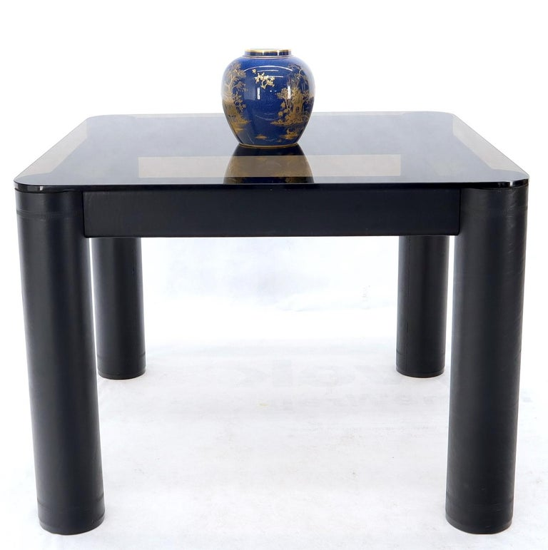 Embossed Leather Wrapped Square Rounded Corners Game Table with Smoked Glass Top For Sale 4