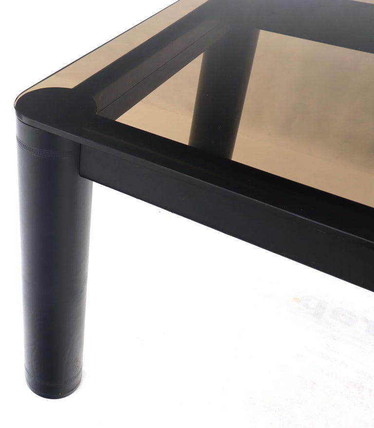 Steel Embossed Leather Wrapped Square Rounded Corners Game Table with Smoked Glass Top For Sale