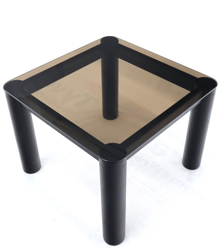 Embossed Leather Wrapped Square Rounded Corners Game Table with Smoked Glass Top For Sale 2