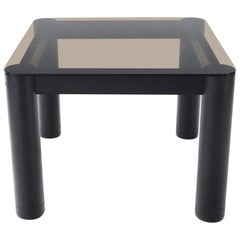 Embossed Leather Wrapped Square Rounded Corners Game Table with Smoked Glass Top