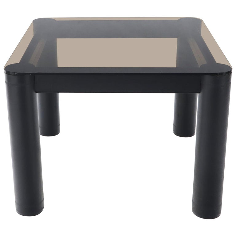 Embossed Leather Wrapped Square Rounded Corners Game Table with Smoked Glass Top For Sale