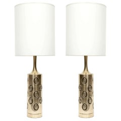 Embossed Satin Brass Lamps by Laurel