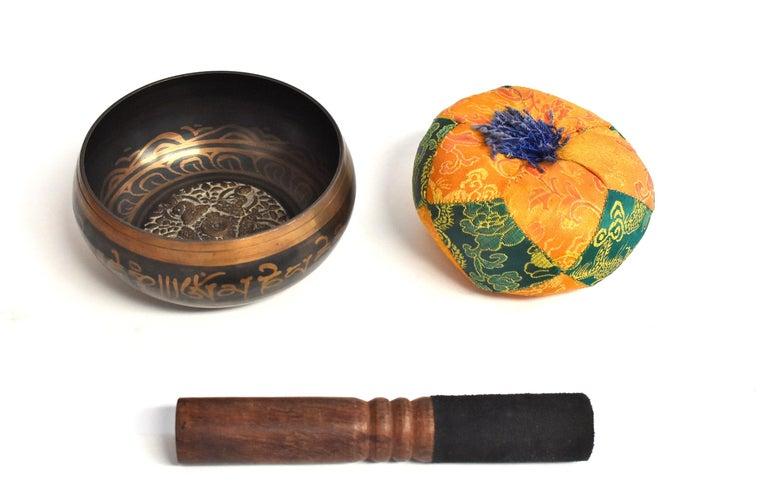 Singing Bowl Set Embossed Tibetan For Sale 13