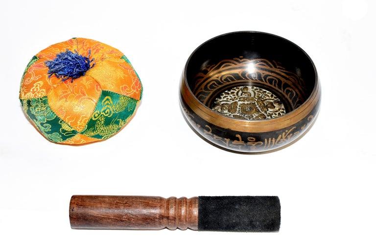 Japanese Singing Bowl Set Embossed Tibetan For Sale