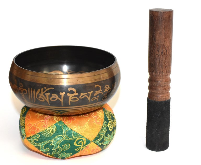 Singing Bowl Set Embossed Tibetan In Good Condition For Sale In Somis, CA