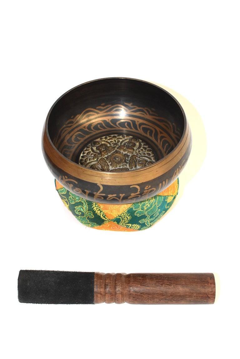Bronze Singing Bowl Set Embossed Tibetan For Sale