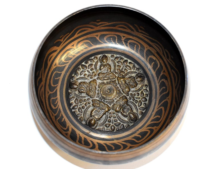 Singing Bowl Set Embossed Tibetan For Sale 2