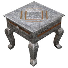 Embossed Tin and Copper Side Table or Nightstand with Velvet Interior Drawer