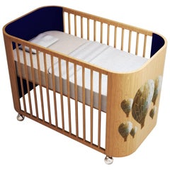 Embrace Adventure Crib in Beech Wood and Navy Blue by MISK Nursery