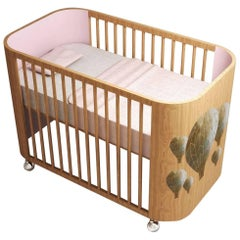 Embrace Adventure Crib in Beechwood & Cotton Candy Pink by Misk Nursery