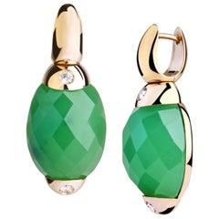 Embrace Classic with Jade, Diamonds Gold Hoop Earrings