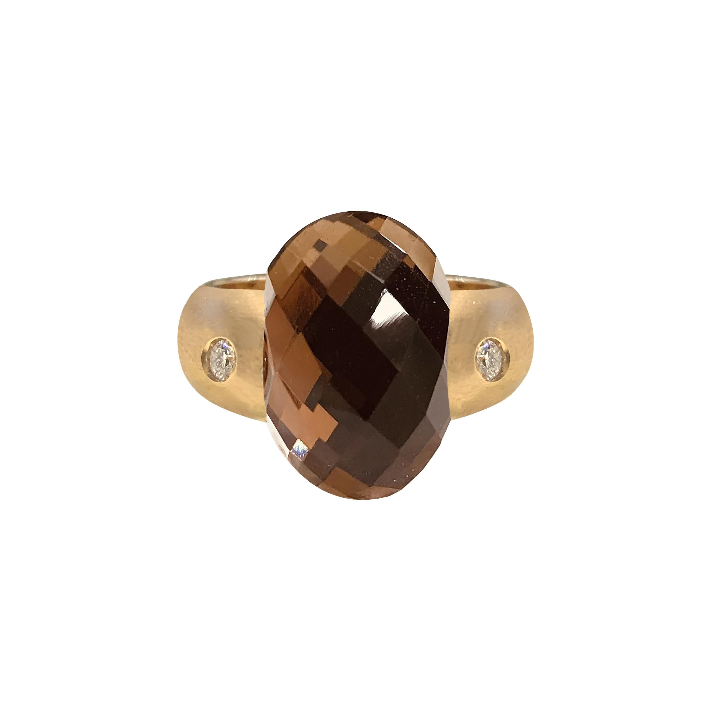Embrace Collection Rose Gold Ring with Smoky Quartz and Diamonds