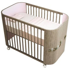 Embrace Dreams Crib in French Grey Wood and Cotton Candy Pink by MISK Nursery