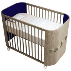 Embrace Dreams Crib in French Grey Wood and Navy Blue by MISK Nursery